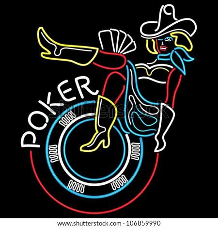 Neon Poker Banner in Vegas - stock vector