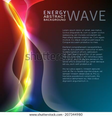 Neon rainbow waves vector background - stock vector