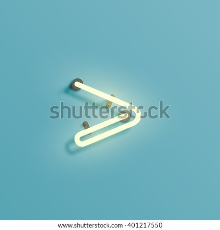 Neon realistic character from a typeset, vector - stock vector