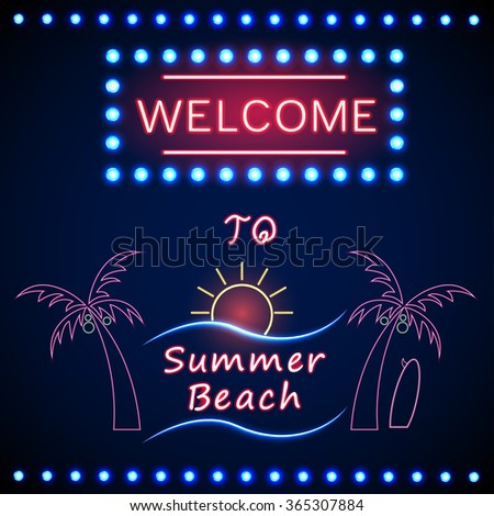 Neon shining beach party with palm tree and the sun.vector - stock vector