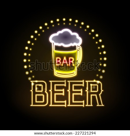 neon sign. Beer bar - stock vector