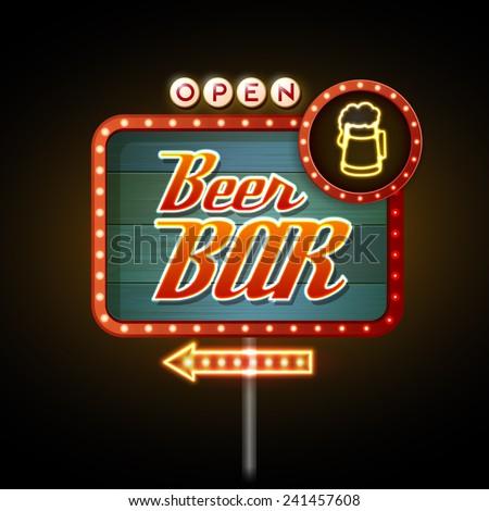neon sign. Beer bar - stock vector
