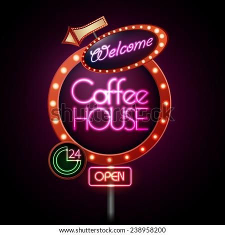 neon sign. Coffee house - stock vector