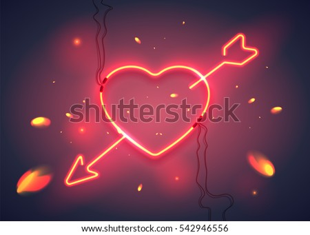 Neon Sign Heart Arrow On Dark Stock-Vektorgrafik 542946556 ...