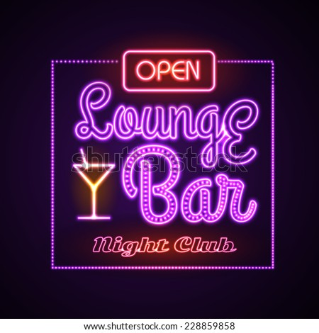 neon sign. Lounge bar - stock vector