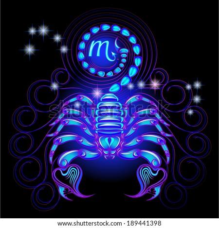 Neon signs of the Zodiac: Scorpio. - stock vector