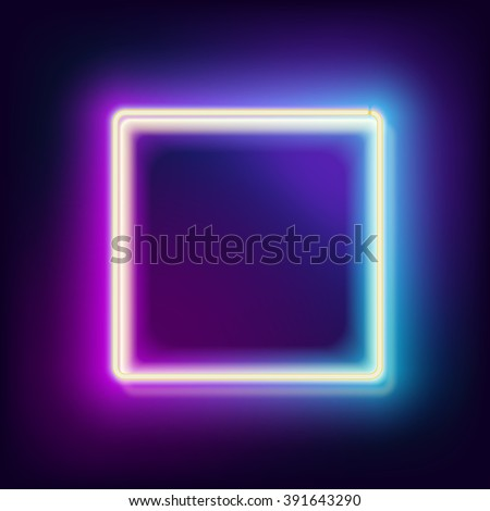 Neon square. Neon blue light. Vector electric frame. Vintage frame. Retro neon lamp. Space for text. Glowing neon background. Abstract electric background. Neon sign square. Glowing electric frame - stock vector