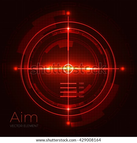 Neon Target on Blueprint Background. Game Interface Element. Vector illustration