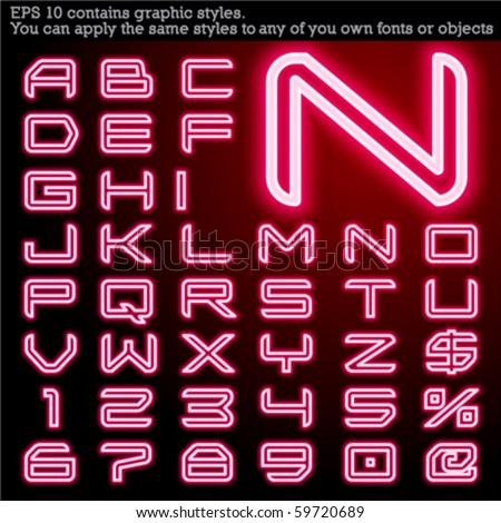 Neon transparent characters. Sensitive to the background. File contains graphic styles. You can apply the styles to any of you own fonts or objects - stock vector