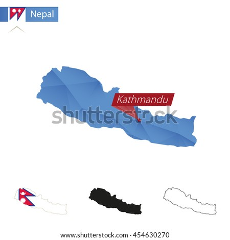Nepal blue Low Poly map with capital Kathmandu, versions with flag, black and outline. Vector Illustration. - stock vector