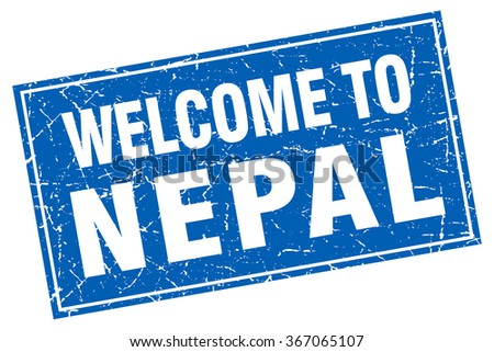 Nepal blue square grunge welcome to stamp