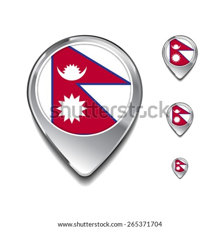 Nepal flag map pointer. 3d Map Pointer with flag glossy button style on gray background - stock vector