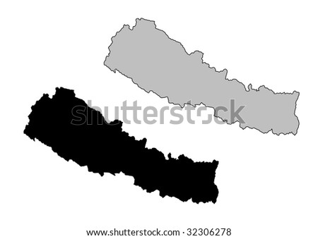 Nepal map. Black and white. Mercator projection. - stock vector