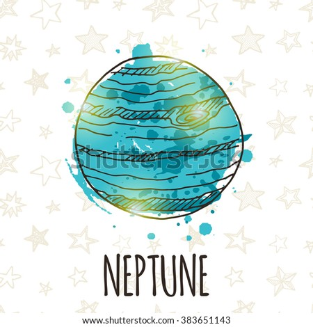 Neptune. Colorful doodle planet card. Hand drawn vector illustration. T-skirt, poster, banner, card.