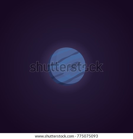 Neptune planet vector Illustration isolated in cartoon style.