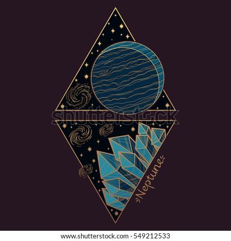 Neptune Planets Stars Solar System Symbols Stock Vector Hd Royalty