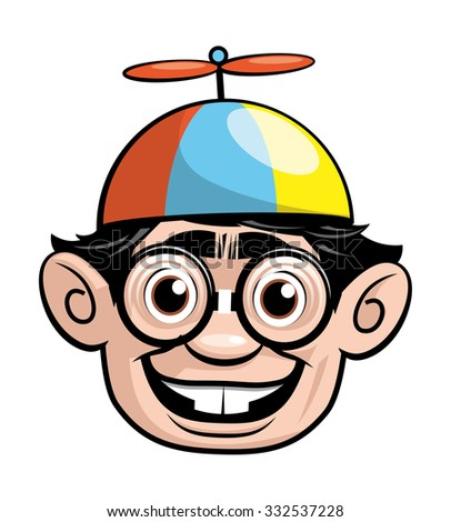 Nerd face with a propeller hat - stock vector