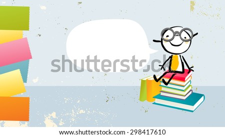 Nerd kid, girl sitting on a stack of books, with speech balloon. Back to school, education vector illustration.  - stock vector