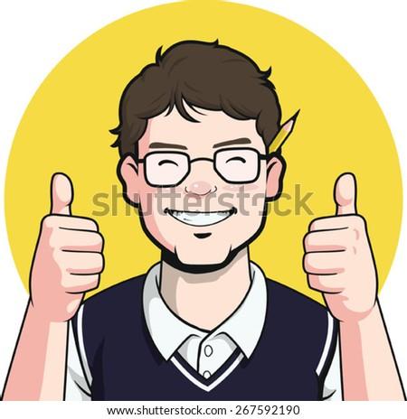 Nerd Writer Guy Mascot - Thumb up - stock vector