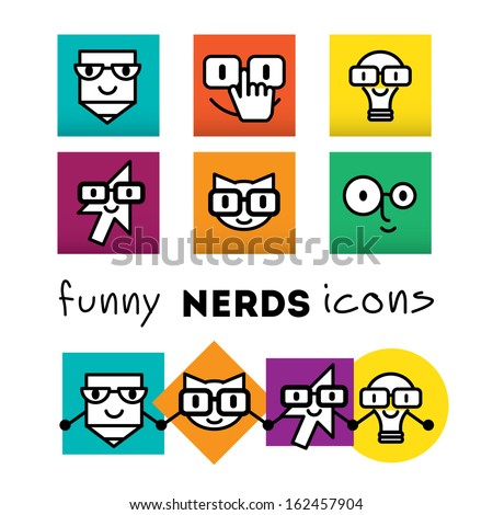 Nerds icon set with funny faces in glasses: pencil, lamp, cat, cursor. Bunch of the colored emoticons. Happy doodles - stock vector