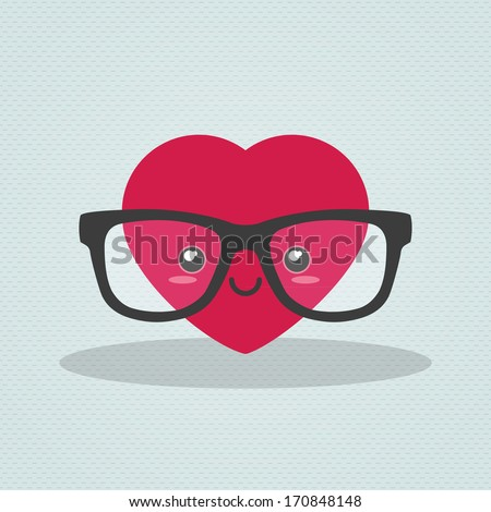 Nerdy heart - stock vector