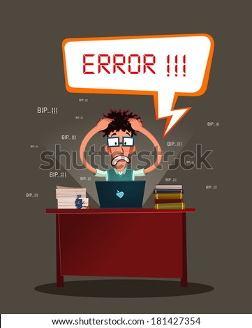 nerdy programmer get stressed because error in his program - stock vector