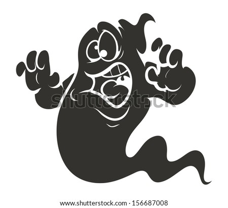 nervous ghost cartoon - Halloween vector illustration - stock vector