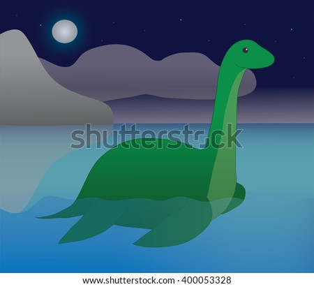 Nessie, Loch Ness Monster, Plesiosaur, Dinosaur, Mythical Creature, Legendary Creature - stock vector