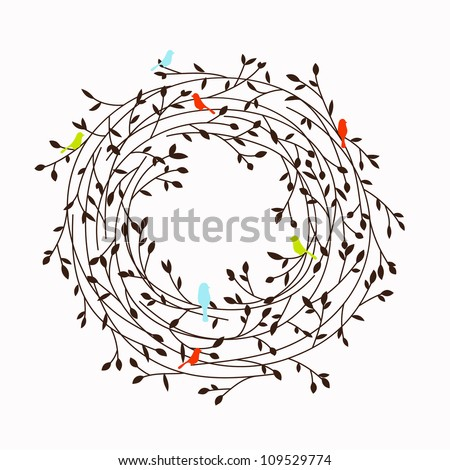 nest frame - stock vector