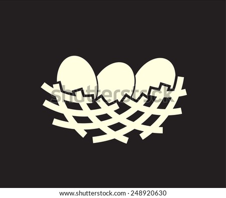 nest simple icon - safe place for your eggs - stock vector