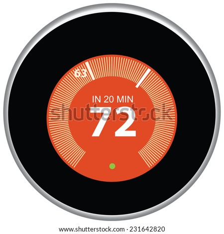Nest thermostat controls and regulates the house remotely. Vector illustration. - stock vector