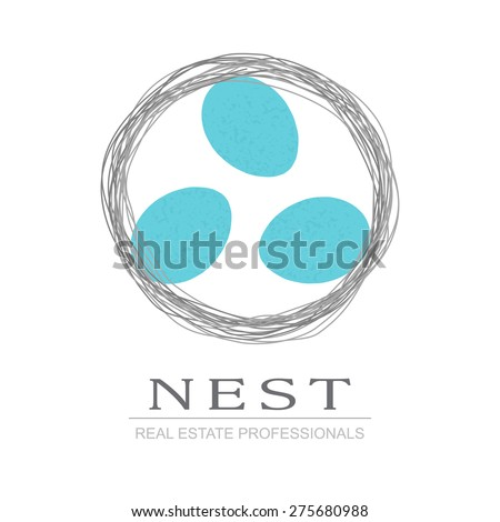 Nest & three bird eggs. Real Estate Business sign vector template for architecture bureau, insurance, home decor, brokerage, building & renovation business. Corporate web site element. Sample text - stock vector