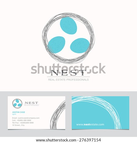 Nest with Bird Eggs. Business sign & Business card vector template for real estate agency, architecture bureau, home decor boutique, home insurance, building & renovation. Corporate web site element. - stock vector
