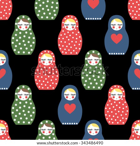 Nested doll seamless pattern. Cute wooden Russian doll - Matrioshka. Colorful Nested doll Matrioshka illustration on black background. - stock vector