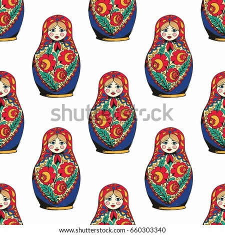Nesting Doll The Traditional Symbol Of Russia Hand Drawing Vector Seamless Pattern For