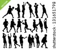 Netball player silhouettes vector - stock vector