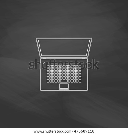 netbook Simple line vector button. Imitation draw with white chalk on blackboard. Flat Pictogram and School board background. Outine illustration icon