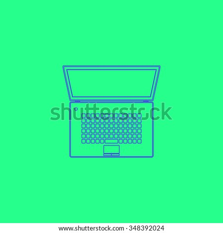 netbook Simple outline vector icon on green background