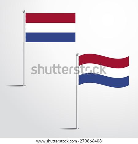 Netherland flag normal and waving flag set | abstract flag vector eps 10 - stock vector