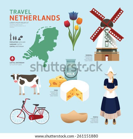 Netherland Flat Icons Design Travel Concept.Vector - stock vector