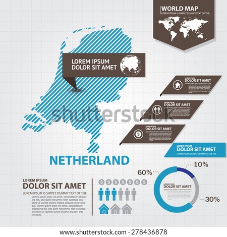 netherland map infographic - stock vector