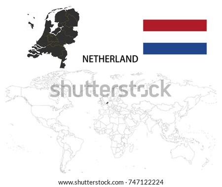 Detailed netherlands black map imgenes pagas y sin cargo y netherland map on a world map with flag on white background gumiabroncs Choice Image