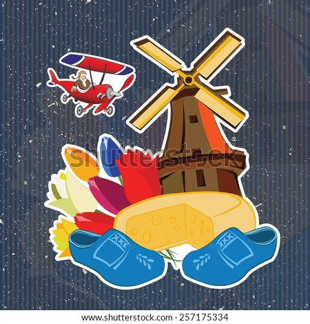Netherland tipics sticker and symbol. Background - stock vector