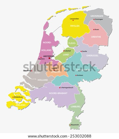 netherlands administrative map - stock vector