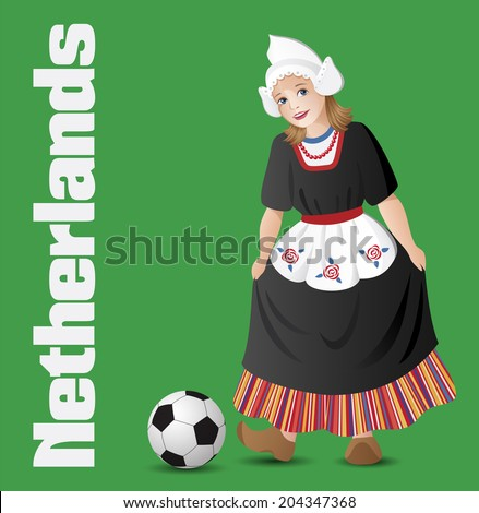 Netherlands as a girl in traditional dutch folk costume with soccer ball - stock vector