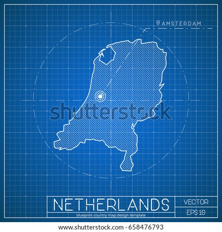 Netherlands blueprint map template capital city stock vector netherlands blueprint map template with capital city amsterdam marked on blueprint dutch map vector malvernweather Image collections