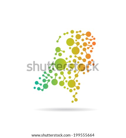 Netherlands dot and lines map image. Concept of networking, structure, communication. Vector icon - stock vector