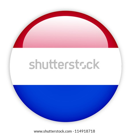 Netherlands flag button on white - stock vector