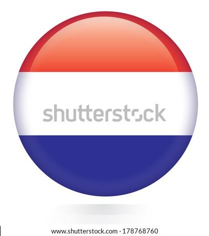 Netherlands flag flag button  - stock vector