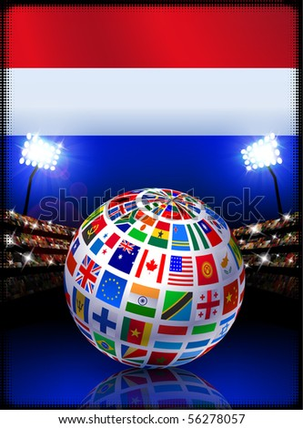 Netherlands Flag Globe on Stadium Background Original Illustration